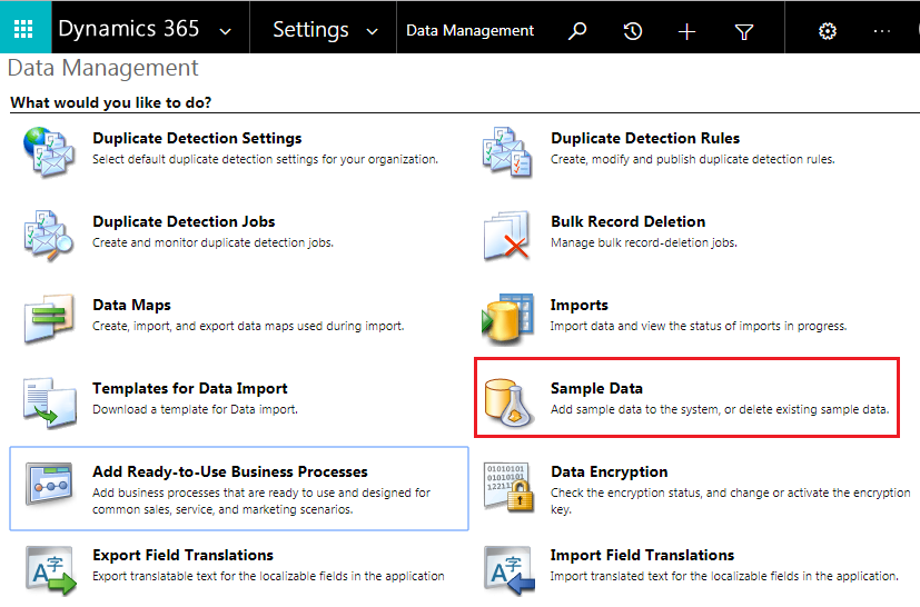 Install sample data for Dynamic 365 trial