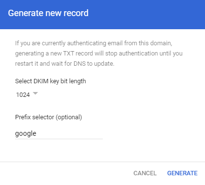Set up DKIM to prevent email spoofing on GSuite